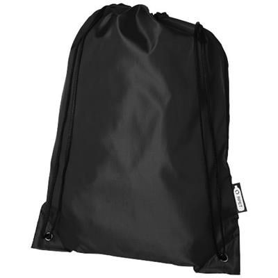 Picture of ORIOLE RPET DRAWSTRING BACKPACK RUCKSACK in Black Solid