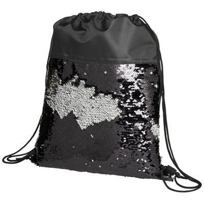 Picture of MERMAID SEQUIN DRAWSTRING BACKPACK RUCKSACK in Black Solid