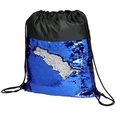 Picture of MERMAID SEQUIN DRAWSTRING BACKPACK RUCKSACK in Black Solid-blue