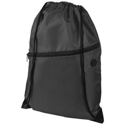 Picture of ORIOLE ZIPPERED DRAWSTRING BACKPACK RUCKSACK in Black Solid