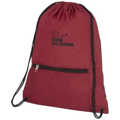 Picture of HOSS FOLDING DRAWSTRING BACKPACK RUCKSACK in Heather Dark Red