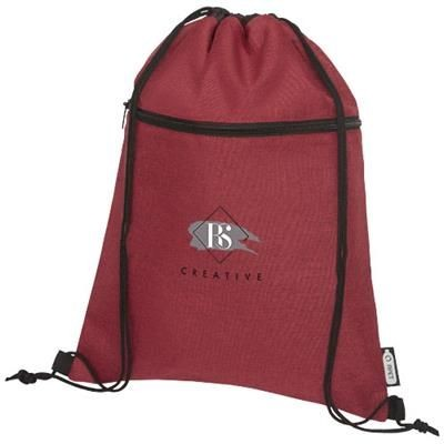 Picture of ROSS RPET DRAWSTRING BACKPACK RUCKSACK in Heather Dark Red