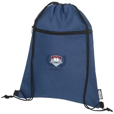 Picture of ROSS RPET DRAWSTRING BACKPACK RUCKSACK in Heather Navy