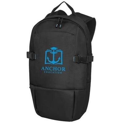 Picture of BAIKAL 15 INCH GRS RPET LAPTOP BACKPACK RUCKSACK in Solid Black