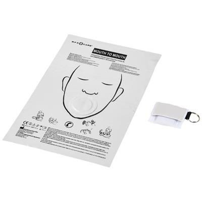 Picture of HENRIK MOUTH-TO-MOUTH SHIELD in Polyester Pouch in White Solid