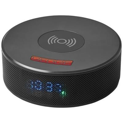 Picture of CIRCLE CORDLESS CHARGER ALARM CLOCK SPEAKER in Black Solid