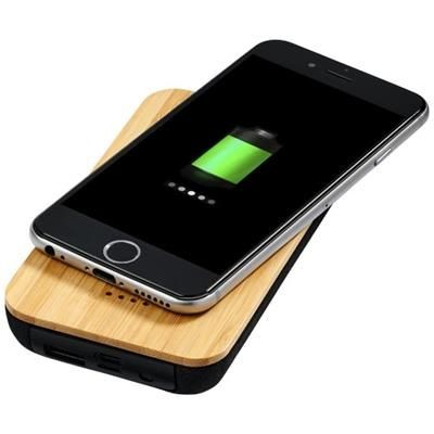 Picture of FUTURE BAMBOO-FABRIC 6000 MAH CORDLESS POWER BANK in Wood-black Solid