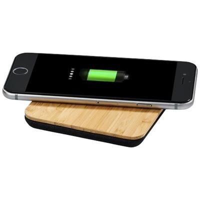 Picture of LEAF BAMBOO AND FABRIC CORDLESS CHARGER PAD in Wood-black Solid