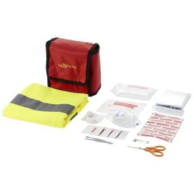 Picture of 18 PIECE FIRST AID KIT AND PROFESSIONAL SAFETY VEST in Red