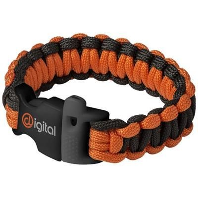 Picture of ELLIOTT EMERGENCY PARACORD BRACELET in Black Solid-orange