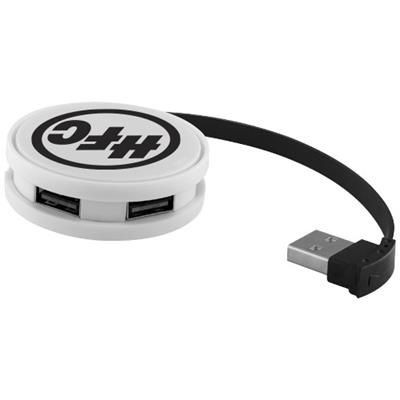 Picture of ROUND USB HUB in White Solid-black Solid