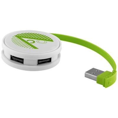 Picture of ROUND 4-PORT USB HUB in White Solid-lime