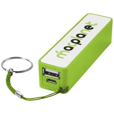 Picture of JIVE 2000 MAH POWER BANK in Lime-white Solid