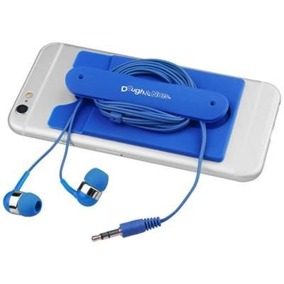 Picture of WIRED EARBUDS AND SILICON PHONE WALLET in Royal Blue