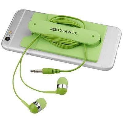 Picture of WIRED EARBUDS AND SILICON PHONE WALLET in Lime