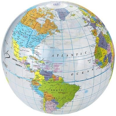 Picture of GLOBE CLEAR TRANSPARENT BEACH BALL in Transparent-multi-colour