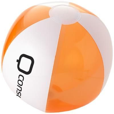 Picture of BONDI SOLID AND CLEAR TRANSPARENT BEACH BALL in Clear Transparent Orange-white Solid