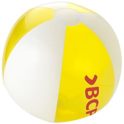 Picture of BONDI SOLID AND CLEAR TRANSPARENT BEACH BALL in Yellow-white Solid