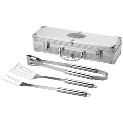 Picture of SATAY 3-PIECE BBQ SET in Silver