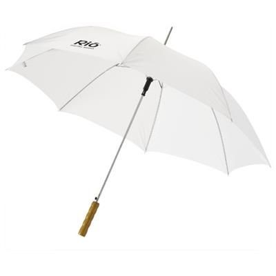 Picture of LISA 23 AUTO OPEN UMBRELLA with Wood Handle in White Solid