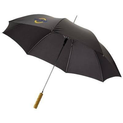 Picture of LISA 23 AUTO OPEN UMBRELLA with Wood Handle in Black Solid
