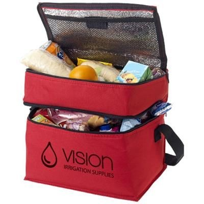 Picture of OSLO 2-ZIPPERED COMPARTMENTS COOL BAG in Red
