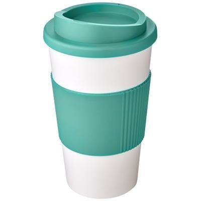 Picture of AMERICANO® 350 ML THERMAL INSULATED TUMBLER with Grip in White Solid-aqua