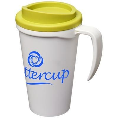 Picture of AMERICANO® GRANDE 350 ML THERMAL INSULATED MUG in White Solid-lime Green