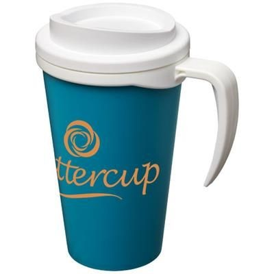 Picture of AMERICANO® GRANDE 350 ML THERMAL INSULATED MUG in Aqua Blue-white Solid