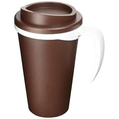 Picture of AMERICANO® GRANDE 350 ML THERMAL INSULATED MUG in Brown-white Solid