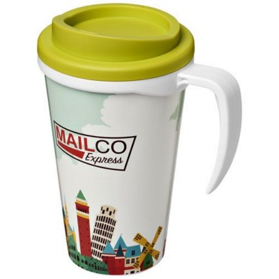 Picture of BRITE-AMERICANO® GRANDE 350 ML THERMAL INSULATED MUG in White Solid-lime Green