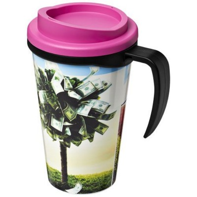 Picture of BRITE-AMERICANO® GRANDE 350 ML THERMAL INSULATED MUG in Black Solid-pink