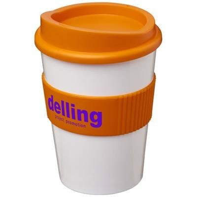 Picture of AMERICANO® MEDIO 300 ML TUMBLER with Grip in White Solid-orange