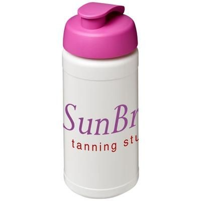 Picture of BASELINE® PLUS 500 ML FLIP LID SPORTS BOTTLE in White Solid-pink