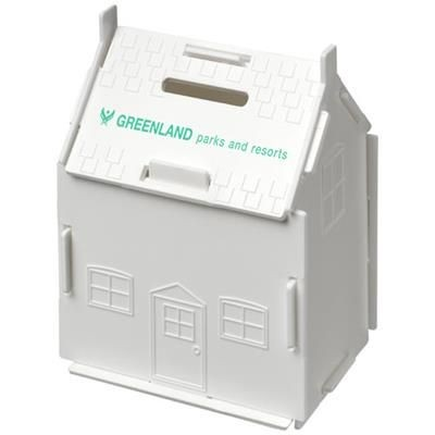 Picture of URI HOUSE-SHAPED PLASTIC MONEY CONTAINER in White Solid