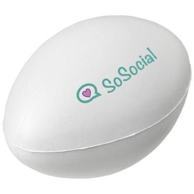 Picture of RUBY RUGBY BALL-SHAPED STRESS RELIEVER in White Solid