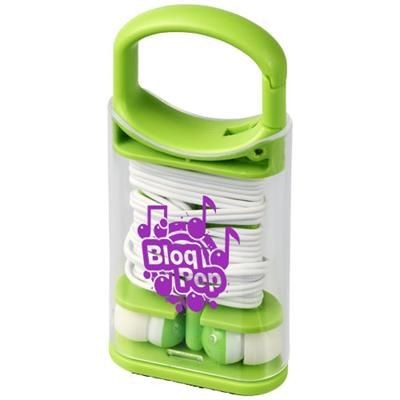 Picture of SNAP EARBUDS with Plastic Carabiner Clip Case in Lime