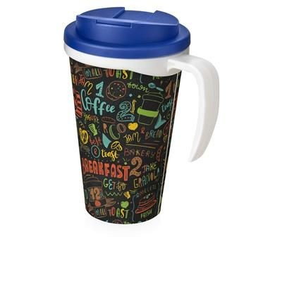 Picture of BRITE-AMERICANO GRANDE 350 ML MUG with Spill-proof Lid in White Solid & Blue