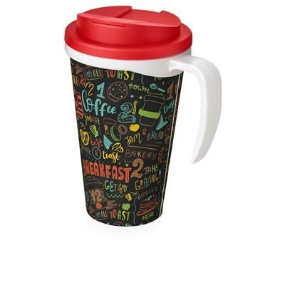 Picture of BRITE-AMERICANO GRANDE 350 ML MUG with Spill-proof Lid in White Solid & Red