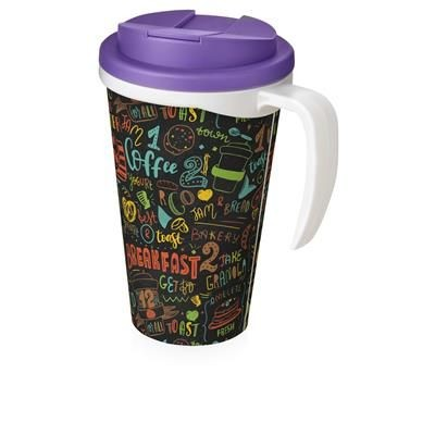 Picture of BRITE-AMERICANO GRANDE 350 ML MUG with Spill-proof Lid in White Solid & Purple