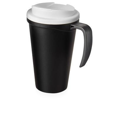 Picture of AMERICANO GRANDE 350 ML MUG with Spill-proof Lid in Black Solid & White Solid