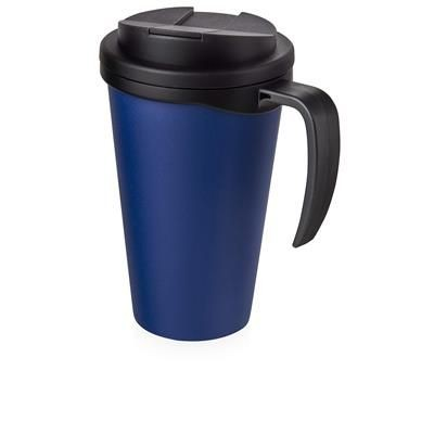 Picture of AMERICANO GRANDE 350 ML MUG with Spill-proof Lid in Blue & Black Solid