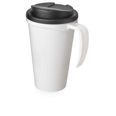 Picture of AMERICANO GRANDE 350 ML MUG with Spill-proof Lid in White Solid & Black Solid