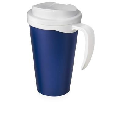 Picture of AMERICANO GRANDE 350 ML MUG with Spill-proof Lid in Blue & White Solid