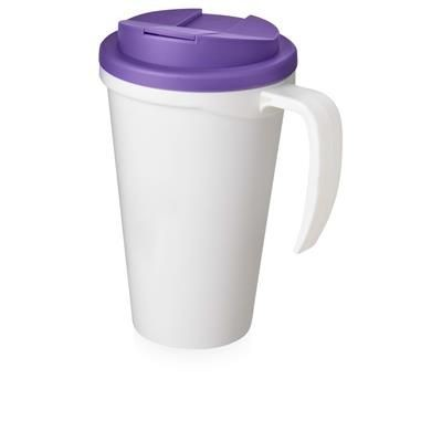 Picture of AMERICANO GRANDE 350 ML MUG with Spill-proof Lid in White Solid & Purple