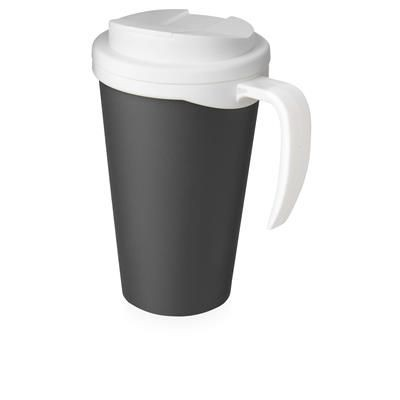 Picture of AMERICANO GRANDE 350 ML MUG with Spill-proof Lid in Grey & White Solid