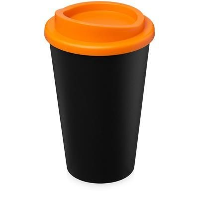 Picture of AMERICANO ECO 350 ML RECYCLED TUMBLER in Black Solid & Orange