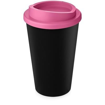 Picture of AMERICANO ECO 350 ML RECYCLED TUMBLER in Black Solid & Pink