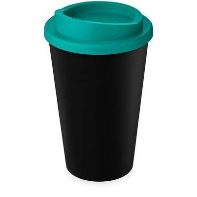 Picture of AMERICANO ECO 350 ML RECYCLED TUMBLER in Black Solid & Aqua Blue