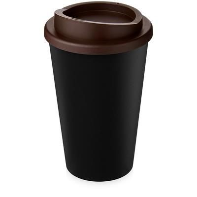 Picture of AMERICANO ECO 350 ML RECYCLED TUMBLER in Black Solid & Brown